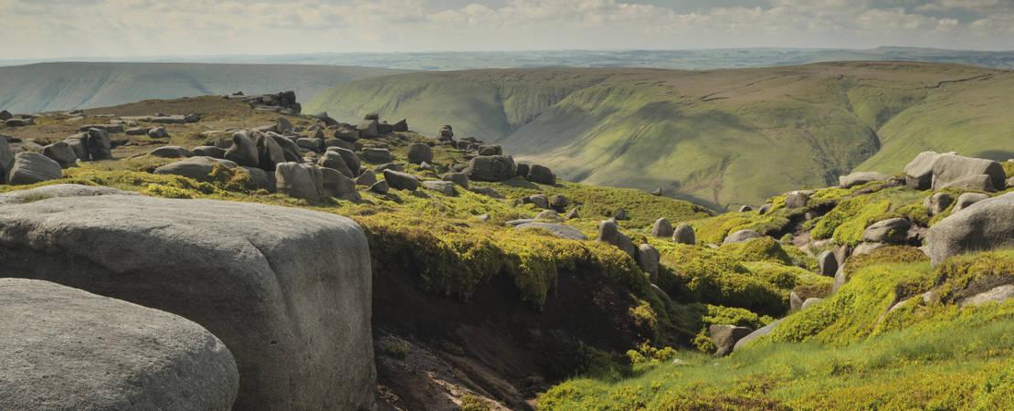 Boulders and spring heather on Kinder plateau